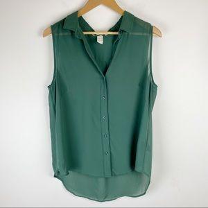 H&M Sleeveless Sheer Top Green Size L